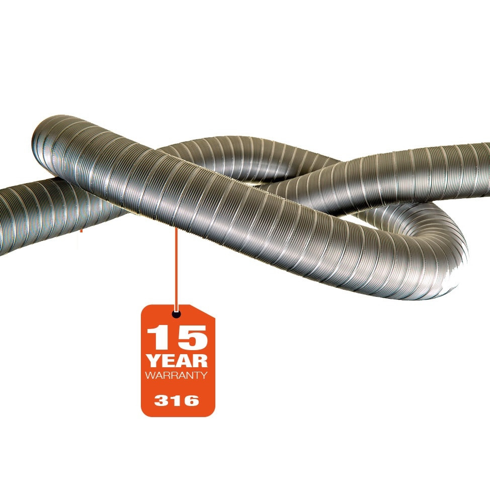 Flexible straight 316L - per mtr. (15 year warranty)